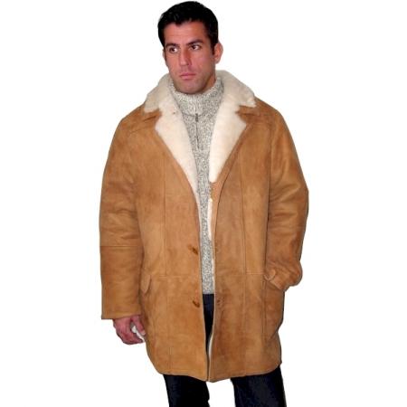 Men S Classic 3 4 Shearling Coat