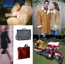 Shearling coats, sheepskin jackets, Latico leather backpacks, sheepskin motorcycle seat covers, purses and sheepskin seat covers.