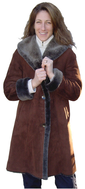 Ladies Spanish Merino Shearling Coat in brown blist