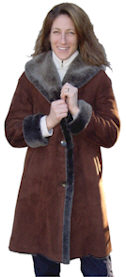 Spanish Merino Shearling Coat in Brown Blist