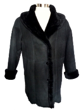 Spanish Merino Shearling Coat in black
