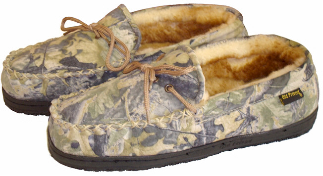 Camouflage Sheepskin Moccasin Slippers