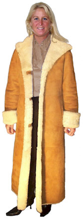 Ladies Full Length Hooded Shearling Coat from VillageShop.com