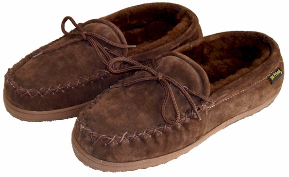 Chocolate Brown Moccasin Slippers by Old Friend