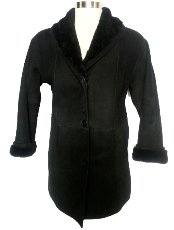 Shawl Collar Shearling Coat in black