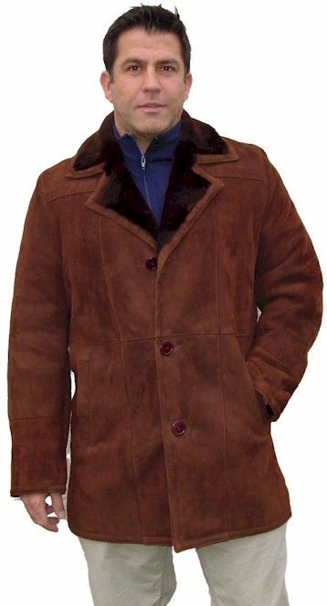Men's Notched Collar Spanish Merino Shearling Coat