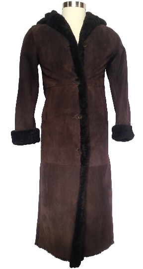 Full Length Hooded Brown Icelandic Shearling Coat