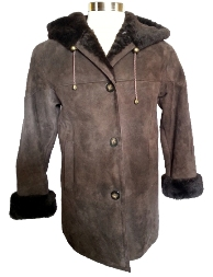 Hooded Shearling Coat in brown