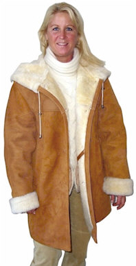 Ladies hooded Shearling Coats from VillageShop.com