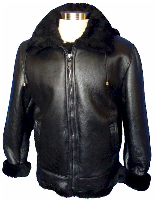 Black Nappa Sheepskin Bomber Jacket