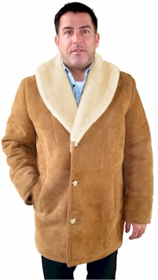 Men's Shawl Collar Sheepskin Coat