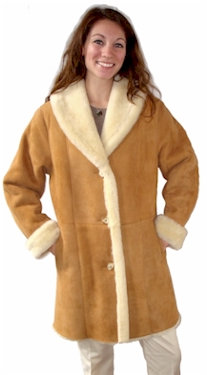 Ladies Shawl Collar Sheepskin Coat