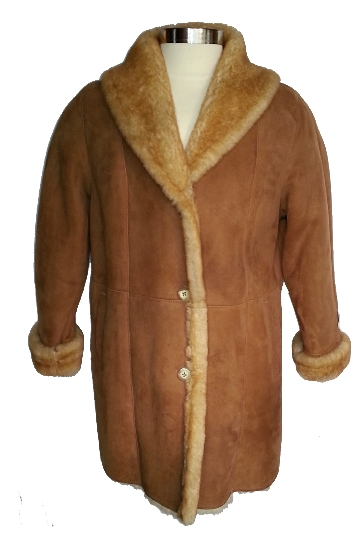 Shawl Collar Sheepskin Coat in stony tan