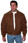 Basic Bomber Leather Jacket in brown