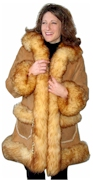 Ladies Fur Trim Shearling Coat