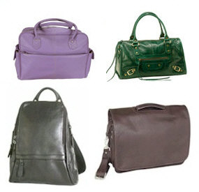 Leather backpacks, Leather purses, briefcases and duffel bags